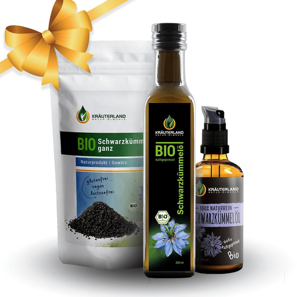 VÝHODNÝ SET – čierna rasca (BIO olej z čiernej rasce 250ml, BIO kozmetický olej z čiernej rasce 100ml, BIO semienka z čiernej rasce 500g)